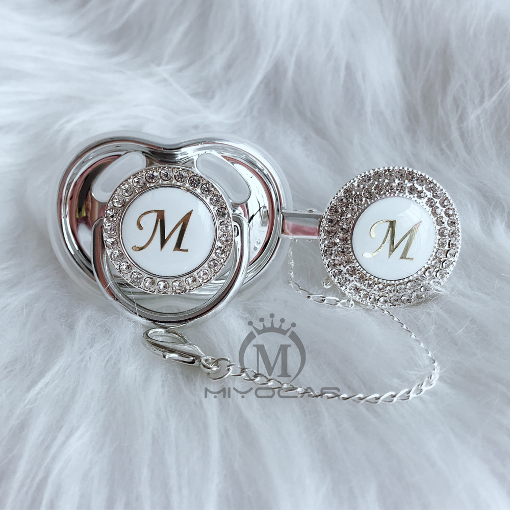 MIYOCAR unique design name Initial letter M beautiful bling pacifier and pacifier clip BPA free dummy bling unique design LMMIYOCAR unique design name Initial letter M beautiful bling pacifier and pacifier clip BPA free dummy bling unique design LM