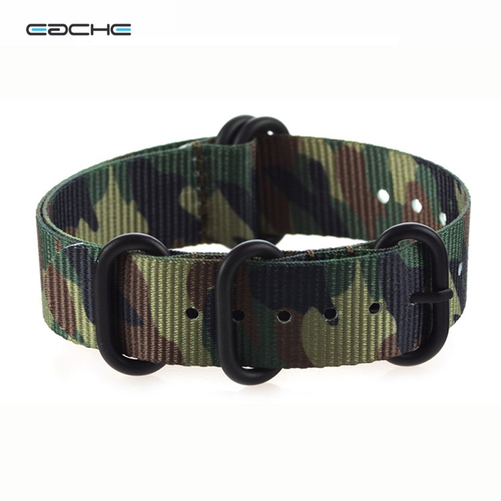 EACHE Army Camouflage Nylon ZULU Watch band 18mm 20mm 22mm 24mm Watch Straps with 5 Rings Silver&Black Buckle men Watchbands eache silicone watch band strap replacement watch band can fit for swatch 17mm 19mm men women
