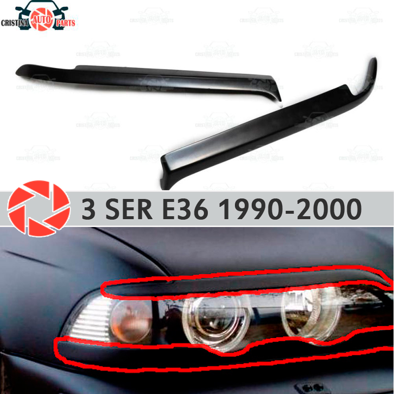 Eyebrows for BMW 3 Series E36 1990-2000 for headlights cilia eyelash plastic ABS moldings decoration trim covers car styling car styling for bmw