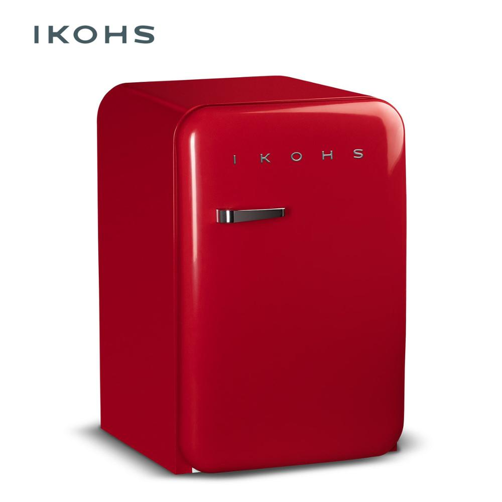 IKOHS RETRO Red Refrigerator83 5L Small Storage Refrigerator Classic Style Freezer Temperature Control Silent And Ideal Ideal