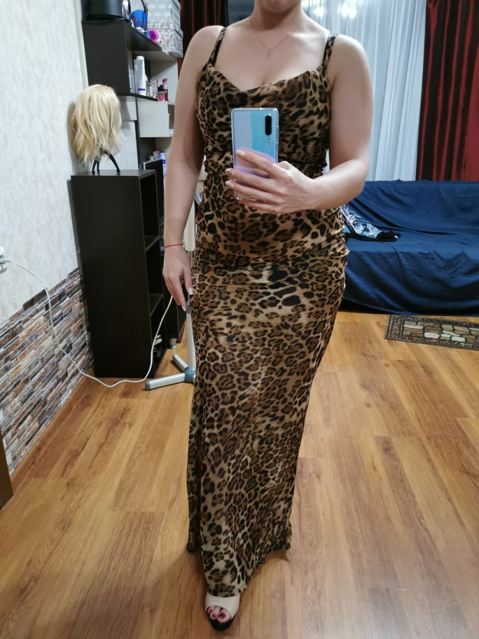 Sexy V Neck Leopard Party Dress Women Spaghetti Strap Backless Slim Maxi Dress Summer Chiffon Long Beach Dress Vestidos photo review