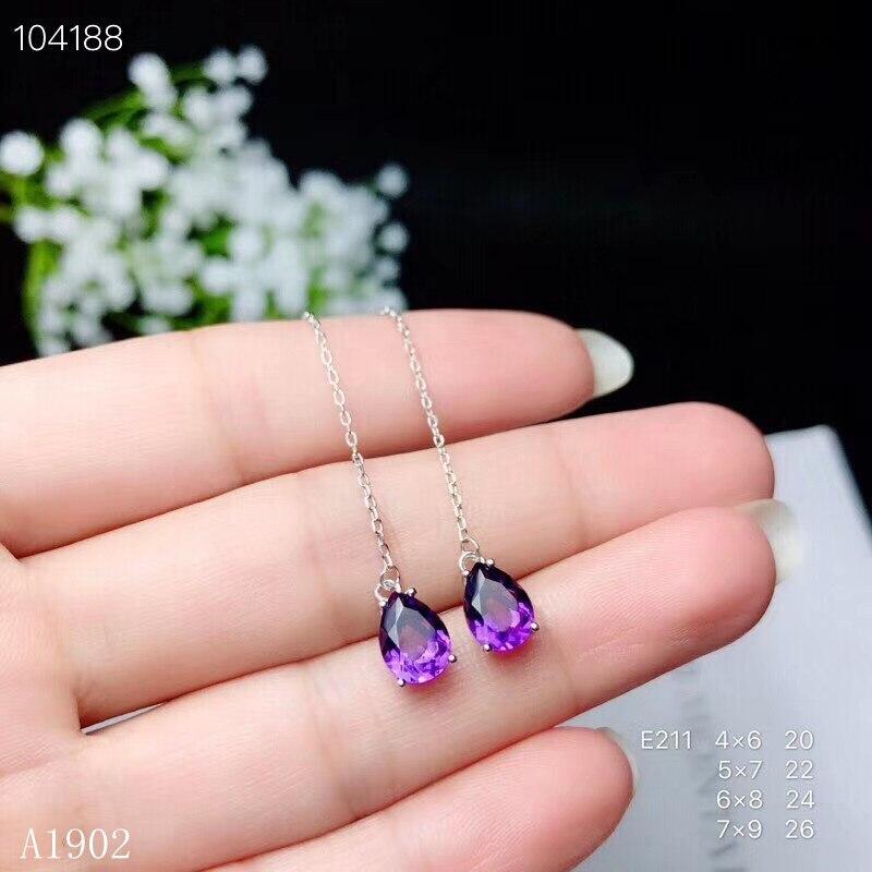 KJJEAXCMY Fine Jewelry 925 Sterling Silver Inlaid Natural Amethyst Gemstone Female Earrings Ear Line Luxury Support Detection