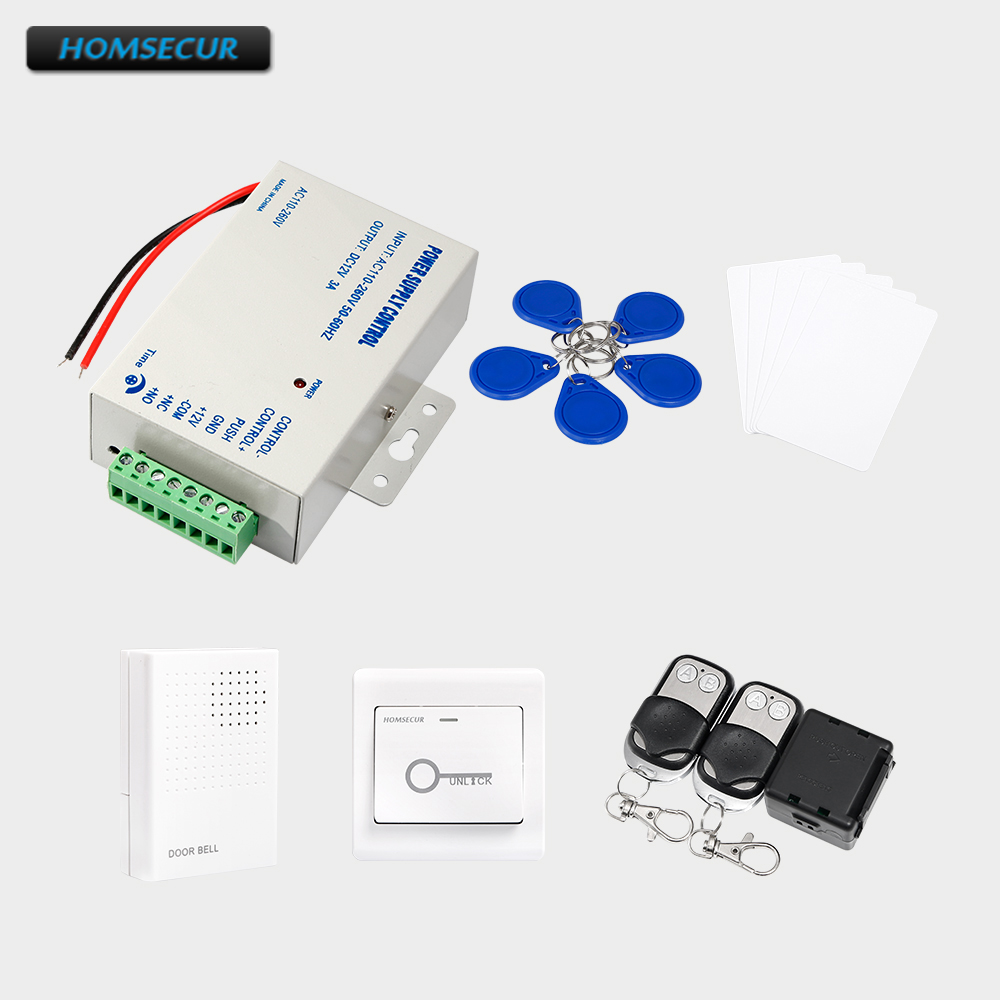 HOMSECUR 5Pcs IC Keyfob+5Pcs IC Card+Exit Button+Power Supply+ Remote Controller+Wired Doorbell 5pcs ads1232ipwr ads1232 tssop24 ic