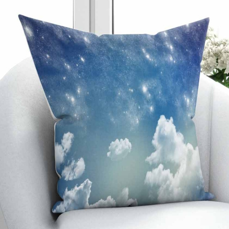 Else Blue Sky White Clouds Nature Night Stars 3D Print Throw Pillow Case Cushion Cover Square Hidden Zipper 45x45cm