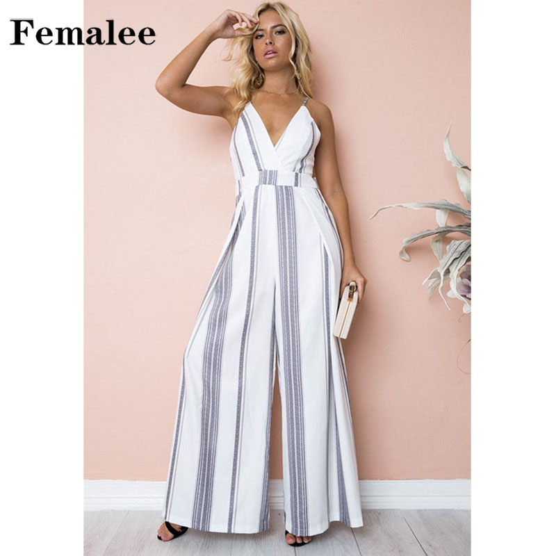 FEMALEE V Collar Backless Wide Leg Striped Floral Sexy Jumpsuit Romper Women Summer Beach High Waist Straight Ankle-Length Pants