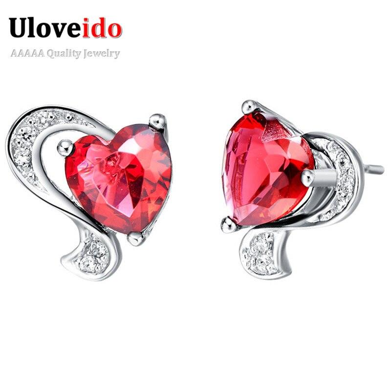 Uloveido Cubic Zirconia Silver Color Earings Fashion Jewelry Red and Purple Heart Earring Studs Wedding Jewelery Bijoux R166