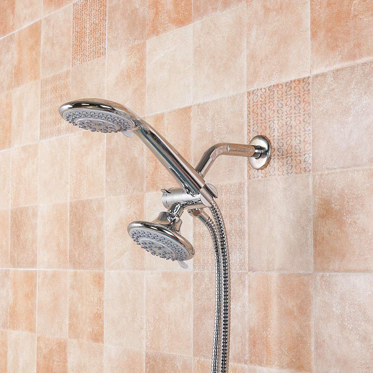 2 Mode Rainfall Shower Head/Handheld Combo Chrome Shower Head Set + ...