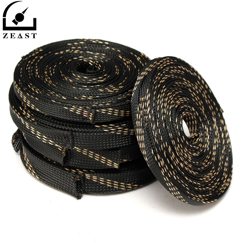 ZEAST 1PC 5M/10M Black Braided Cable Sleeving PET Nylon Wrapping Cable Casing Cable Sleeves Wire 8mm/10mm/12mm/15mm/20mm/25mm 6m 20ft long 12mm wire spiral wrap wrapping sleeving band cable black white x 2