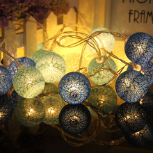10PCS LED Cotton Christmas Ball Light Dry Battery 1.2M String Lights for Banquet Home and Trees holliday Decorations P20