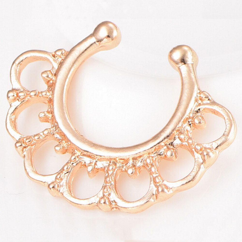 New Hollow Faux Piercing Nose Studs Body Hoop Nose Ring Variety Fake Septum U Shape Nose Rings For Women Septum Clip Jewelry