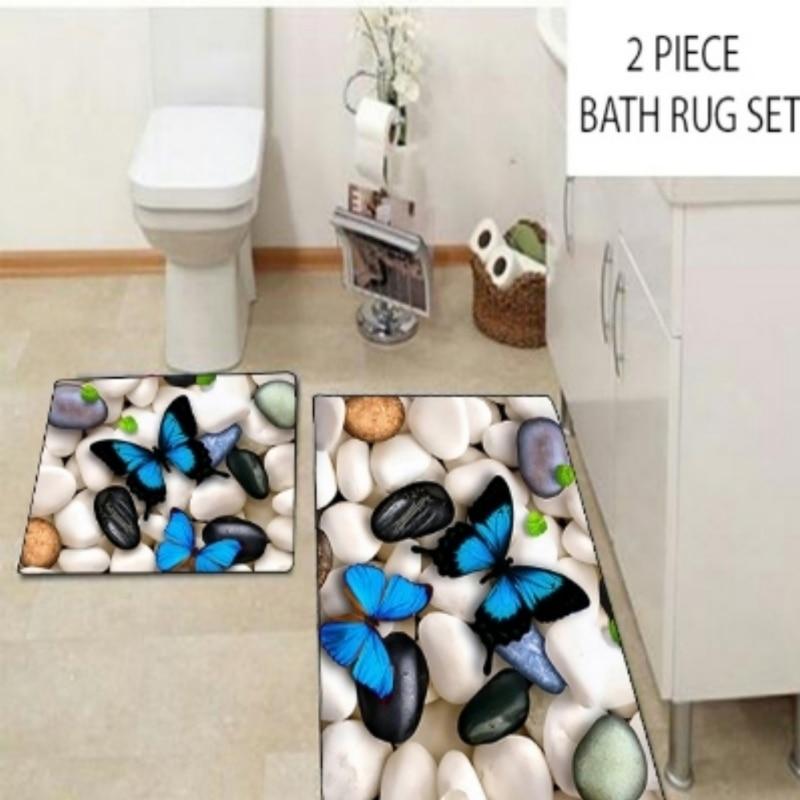 Autre blanc noir galets pierres bleu papillon 2 pièces 3d motif impression tapis de bain antidérapant doux lavable tapis de salle de bain tapis de toilette