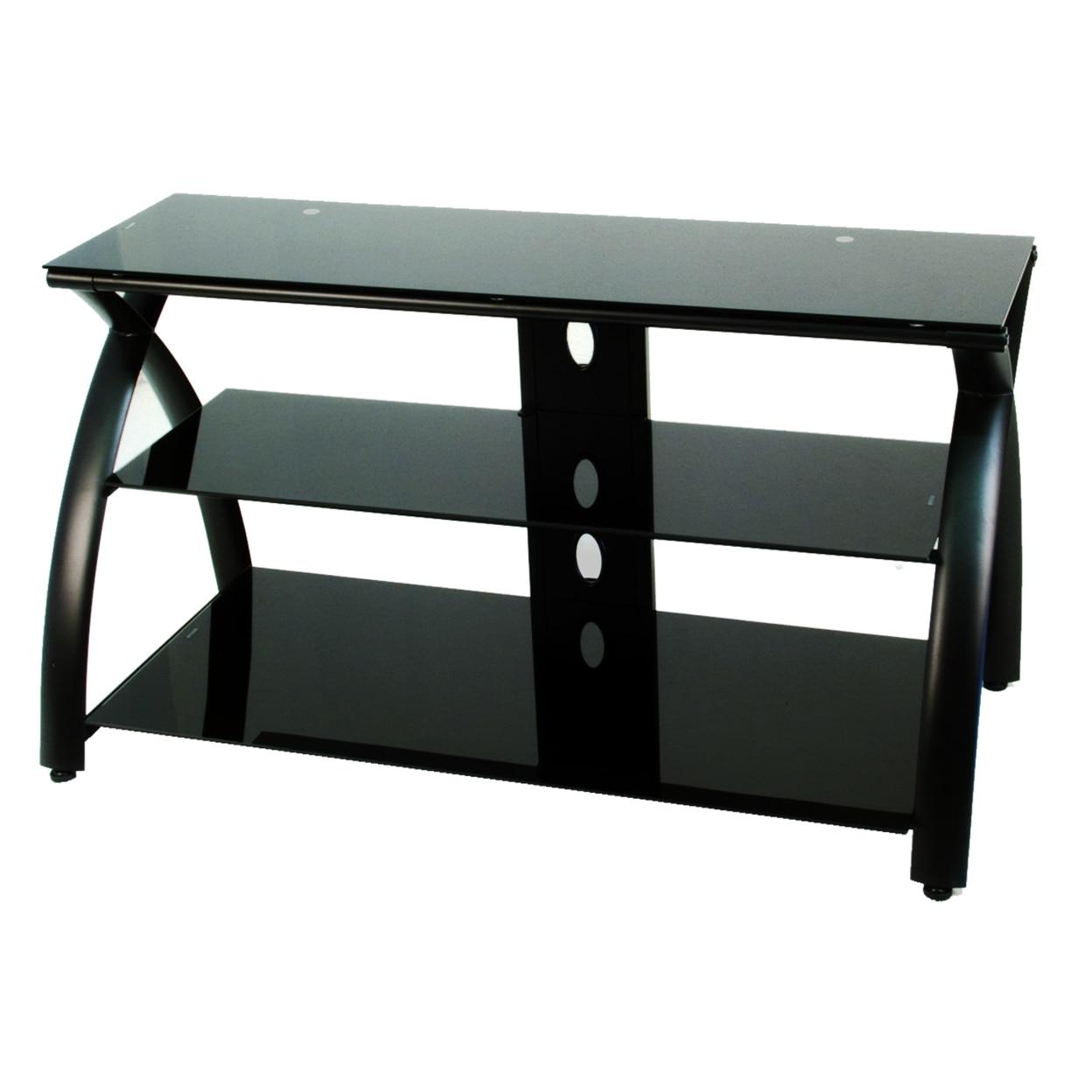 купить Offex Home Office Futura TV Stand Glass - Black/Black недорого