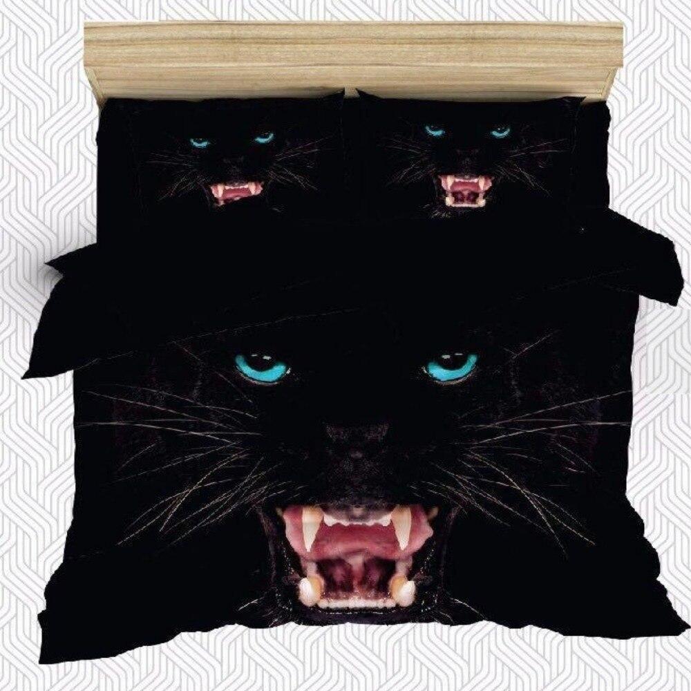 Else 6 Piece Black Jaguar Blue Eyes Wild Animals 3D Print Cotton Satin Double Duvet Cover Bedding Set Pillow Case Bed Sheet