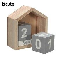 Kicute Country Design House Shape Perpetual Calendar Wood Desk Wooden Block Home Office Supplies Decoration Artcraft