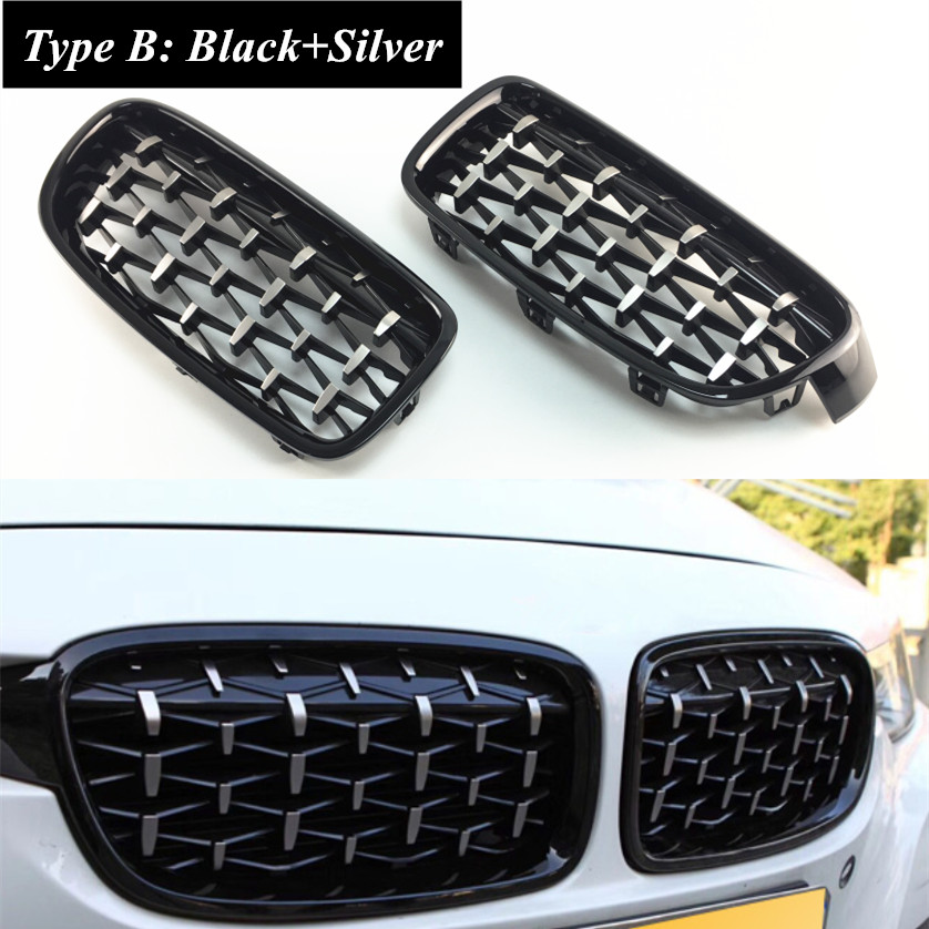 2pcs Black Silver Car Front Central Grill Grille Cover Replacement For BMW 3 Series F30 F31