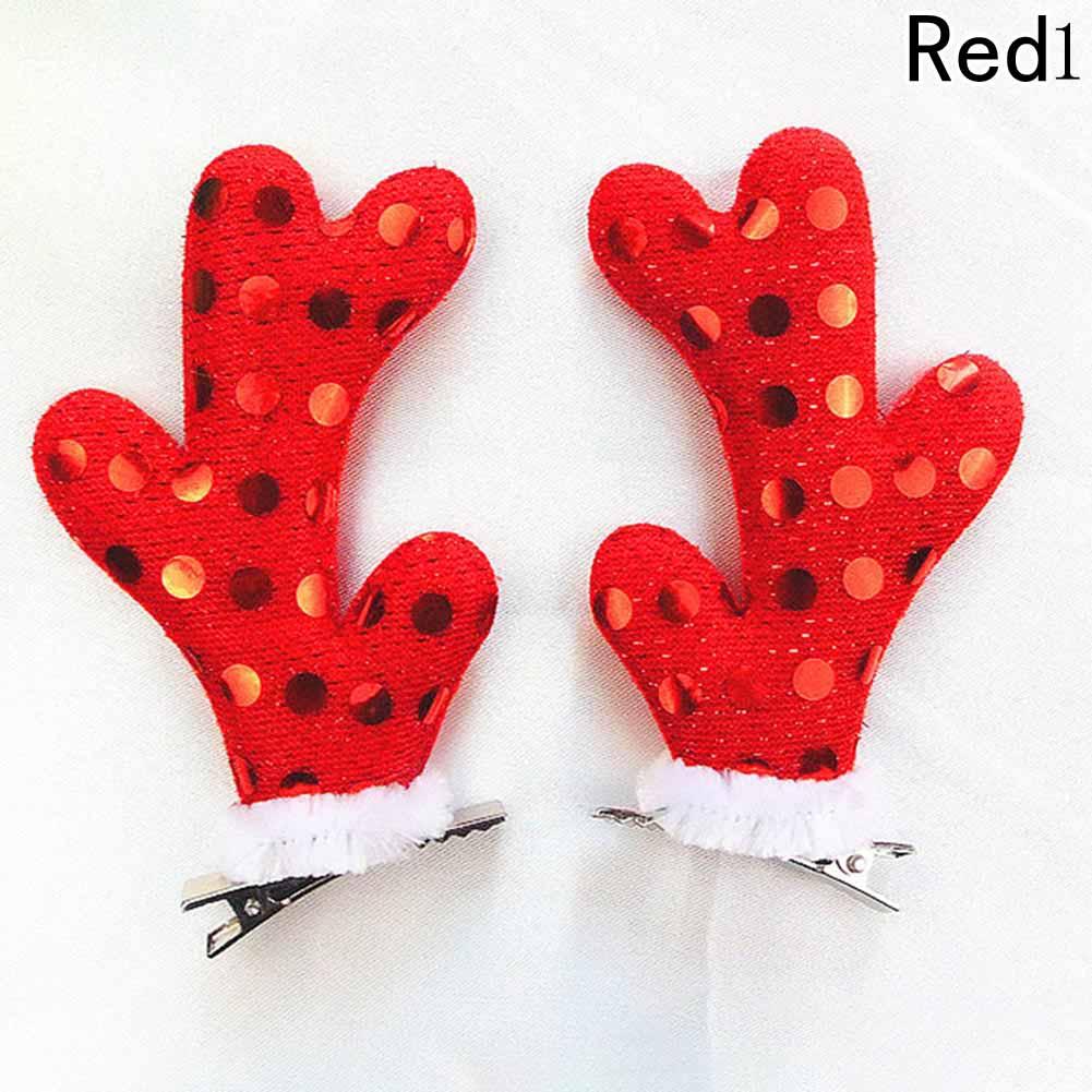 1 pair Christmas Hair Clips Cute Santa Hat Elk Horns Christmas Hairpins Xmas Hair Clips Headwear Hair Accessories