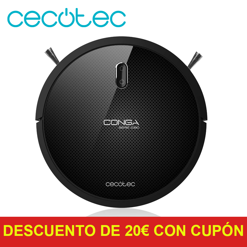 Cecotec Robot Vacuum Cleaner Conga Series 1090 Smart Navigation 4 in 1 with Brush to Remove Hair Llimpia Carpet