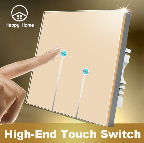 Free Shipping, 2 Gangs 1 Way Wallpad UK Standard Touch Switch,Gold Crystal Glass Switch Panel , Wall Light Touch Screen Switch
