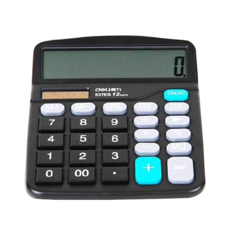 Black 12 Digit Large Screen Calculator Fashion Computer Financial Accounting Electronic Calculator Big Display