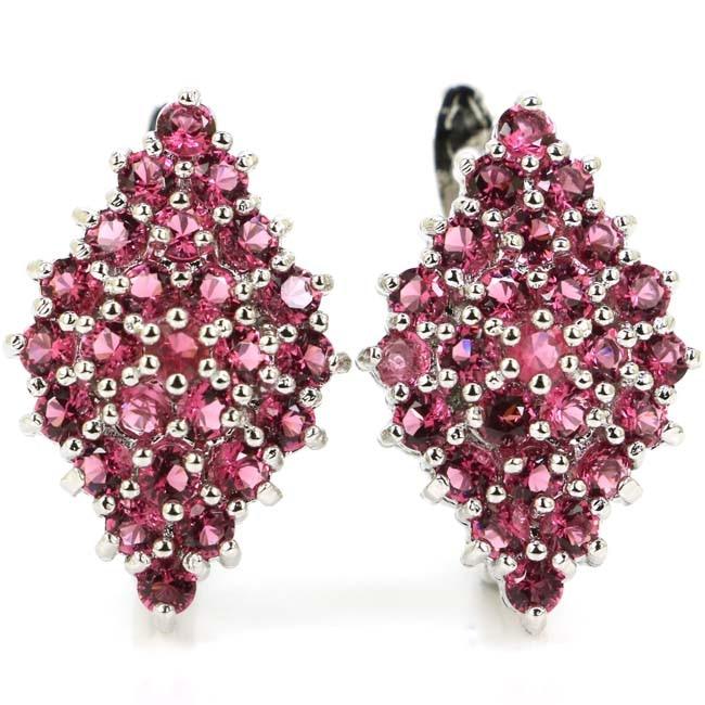 Elegant Pink Raspberry Rhodolite Garnet CZ Woman's Silver Earrings 26x16mm