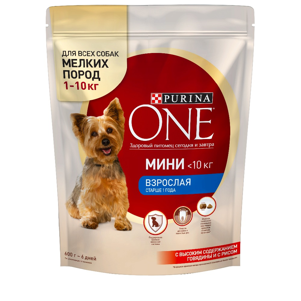 Dry dog food of small breeds Purina One Mini Adult, with beef and rice, 4.8 kg. corn puffing machine rice snacks food puffed extrusion machine