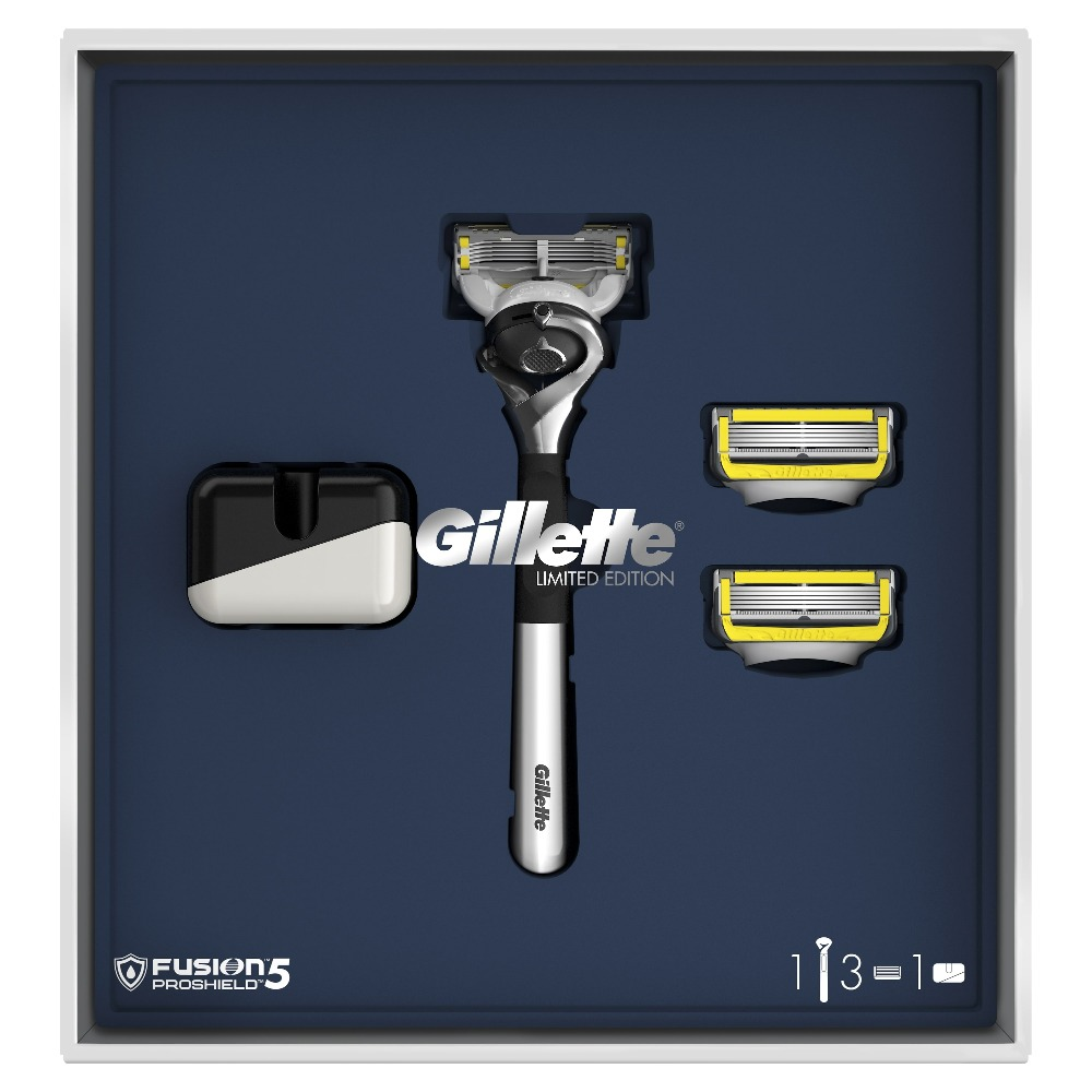 Gillette Fusion5 ProShield Gift Set Limited Edition with Chrome Handle (Razor + 3 Replaceable Cassettes + Stand) 3 in 1 man s manual 2 blade single head shaver razor set black silver