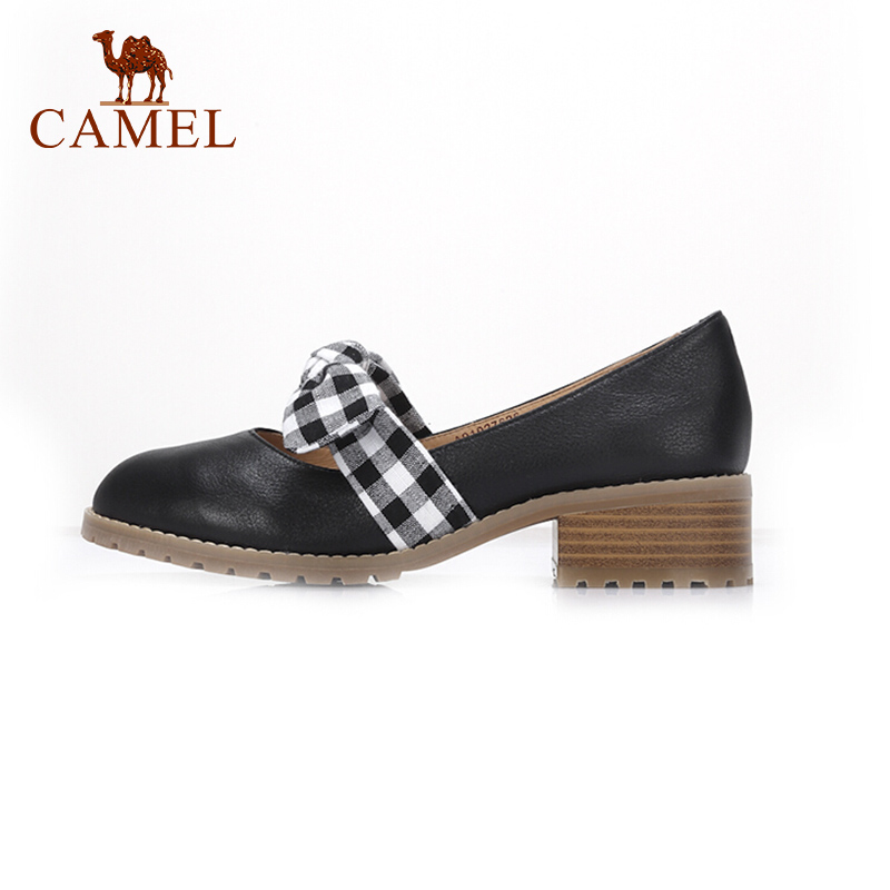 CAMEL Women Spring New Casual Single Shoes For Ladies Leather Shallow Retro Med Heel Pumps Soft