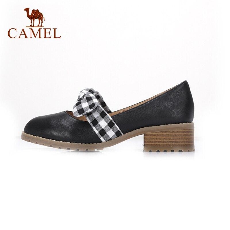 CAMEL kobiety wiosna nowy dorywczo pojedyncze buty dla pań skórzany płytkie Retro Med obcas pompy miękkie mody sukienka pojedyncze buty kobiet w Buty damskie na słupku od Buty na  Grupa 1