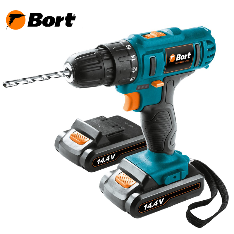14V Bort Li-Ion Lithium Battery Electric Drill Cordless Screwdriver Mini Drill Cordless Screwdriver Power Tools Cordless Drill BAB-14Ux2Li-FDK li ion battery electric cordless screwdriver set led light indicator and multi bits sockets