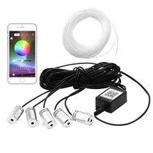 5 в 1 6,2 м звук активный EL неоновая подсветка для салона автомобиля RGB светодиодный LED интерьер автомобиля свет многоцветный Bluetooth телефон управление атмосфера 12 В