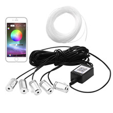 5 в 1 6,2 м звук активных EL неоновая подсветка для салона автомобиля RGB светодиодный салона свет многоцветный Bluetooth телефон Управление Атмосфера Свет 12 V