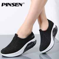 PINSEN 2017 Summer Women Flats Platform Shoes Women Breathable Mesh Casual Shoes Ladies Platform Thick Heel