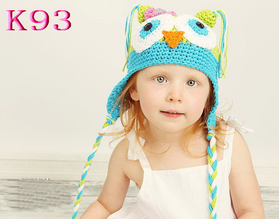 Owl Crochet Baby Hats Caps Toddler Handmade 100% Cotton Animal Cartoon pattern Children Earflap Hat Owl Beanie Baby Hat NEWEST!