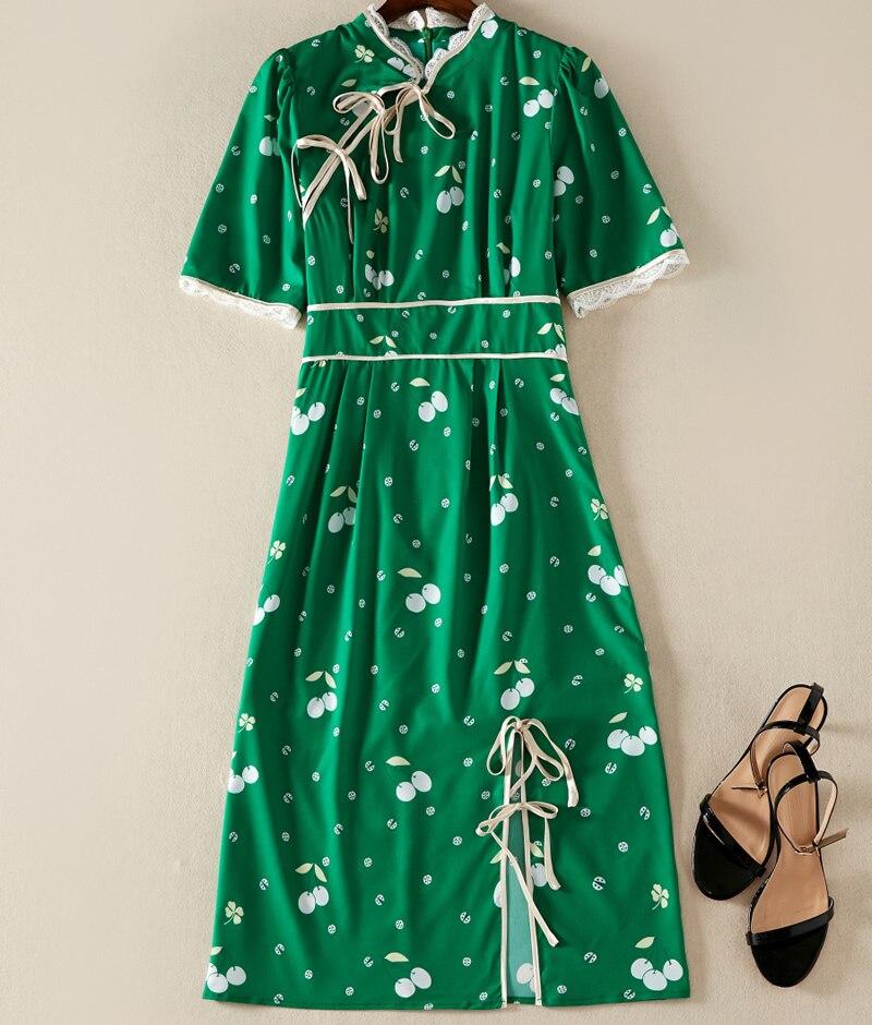 Style chinois Vintage Designer femmes vert imprimé robe mode à manches courtes robes décontractées