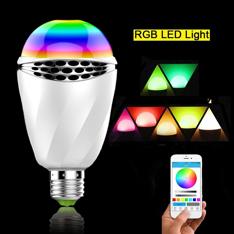 Smxui Smart RGB Bulb 12W E27 LED Light Bluetooth 4.0 APP Control Music Audio Speaker Colorful Stage Lamp AC100-240V led rgb bulb lamp app remote control e27 speaker bluetooth 4 0 music led night light