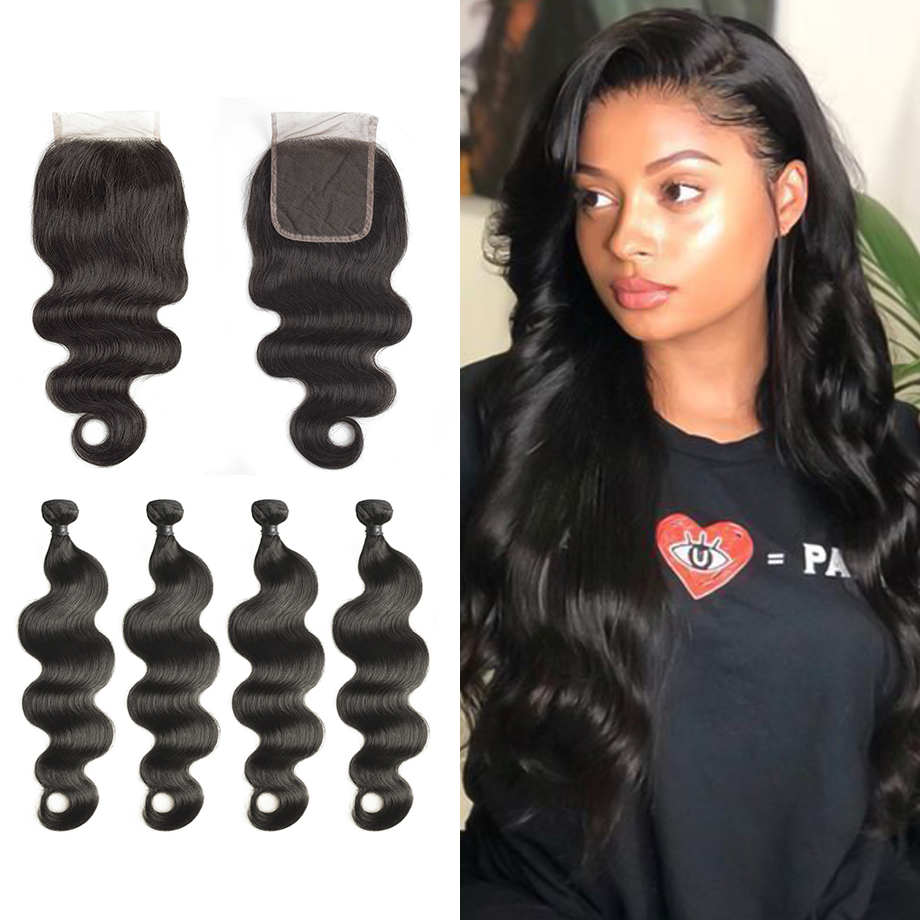FirstWig Peruvian Virgin Human Hair 3 Bundles with Closure Unprocessed Body Wave Hair Extension 4 pcs