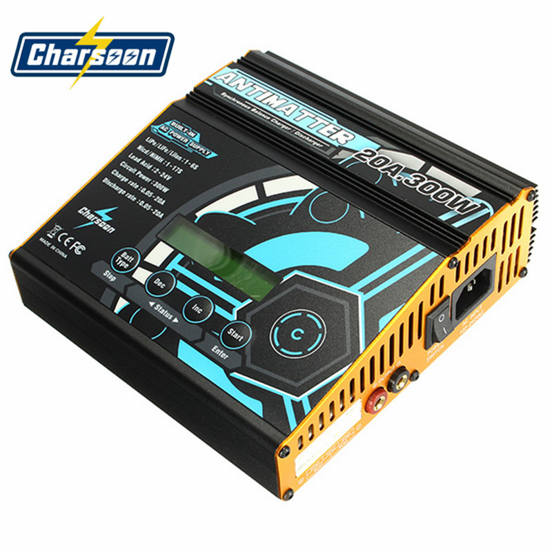 Charsoon Balance Charger Antimatter 300W 20A Built-in AC DC Synchronous For Lipo/Lilo/LiFe/Ni-Cd/NiMH/Pb Battery RC Toys Accs ebike battery 48v 15ah lithium ion battery pack 48v for samsung 30b cells built in 15a bms with 2a charger free shipping duty