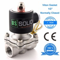 U.S. Solid 1/2, 3/4, 1 Stainless Steel Electric Solenoid Valve 24 V 12V DC 24V 110V AC, Normally Closed, Water Air Oil