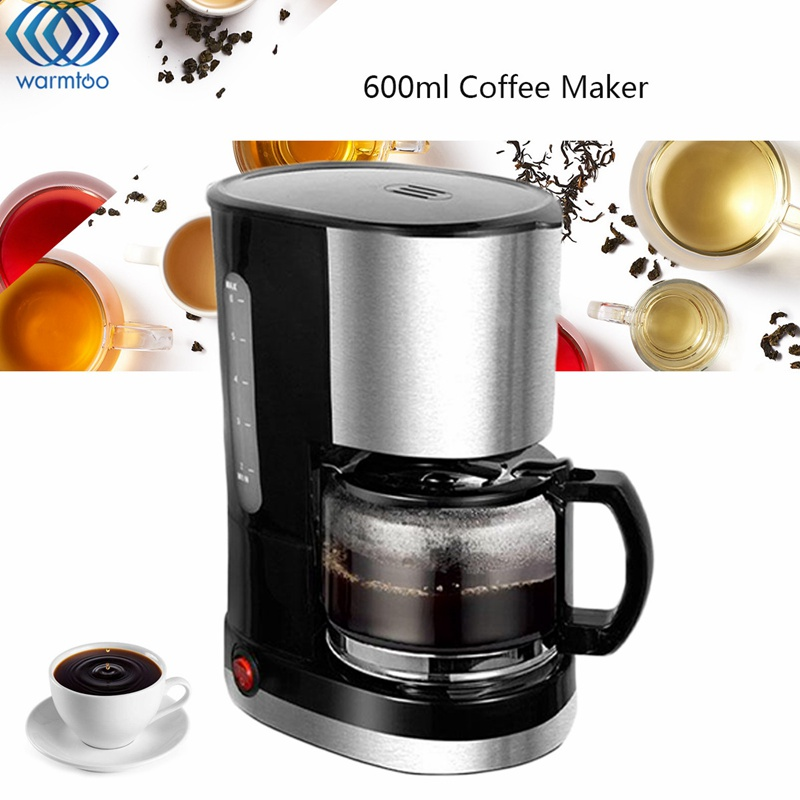 Household Automatic Drip Coffee Machine 6 Cups Coffee Make 220V 600W Stainless Steel Black Simple Operation cukyi household electric multi function cooker 220v stainless steel colorful stew cook steam machine 5 in 1