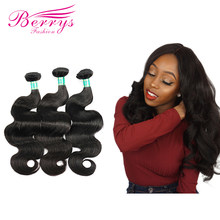 Berrys Fashion Peruvian Virgin Hair Body Wave 100% Human Hair Bundles 3pcs/lot 8 Inches to 30 Inches Unprocessed Human Hair Weft(China)