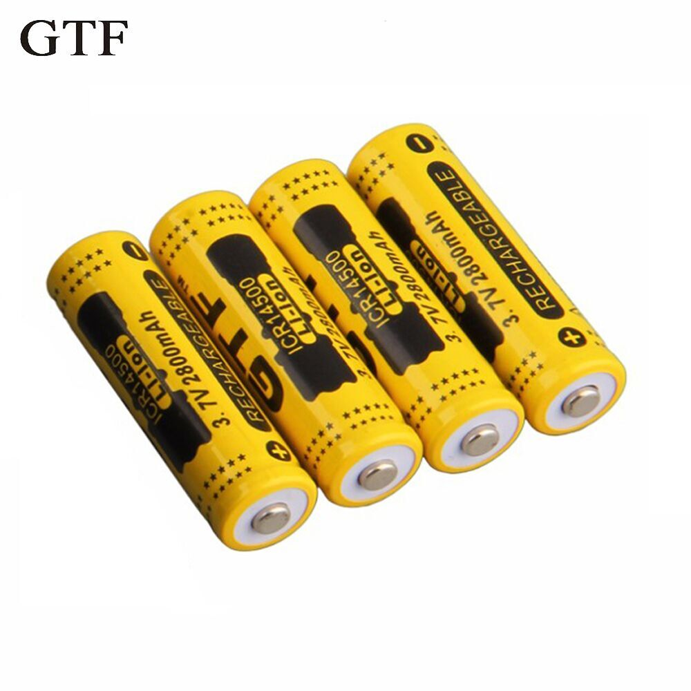 GTF 4pcs <font><b>14500</b></font> 3.7V 2800mAh Rechargeable <font><b>Li</b></font>-<font><b>ion</b></font> Battery for LED Flashlight image