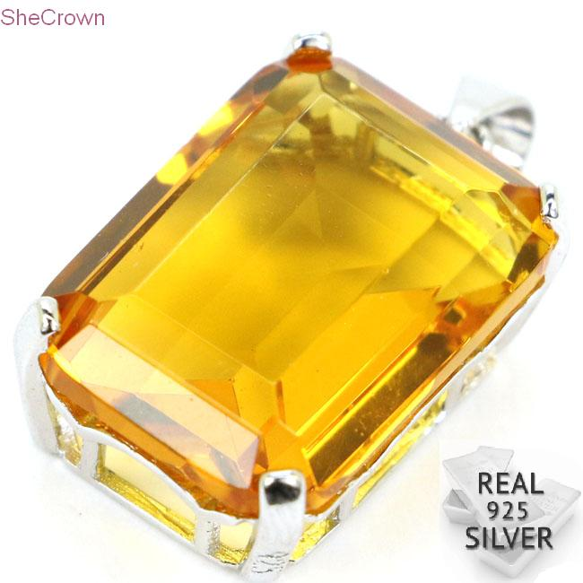 Guaranteed Real 925 Solid Sterling Silver 4.1g 18x13mm Rectangle Golden Citrine Gift Pendant 25x13mm