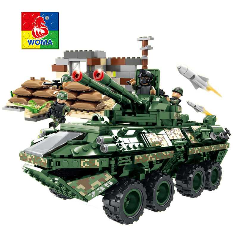 WOMA Military Education Building Blocks Toys Children Gifts Military Trucks Tank Weapons Compatible legoe woma engineering architecture education model urban engineering vehicles building blocks children toys compatible with legoe