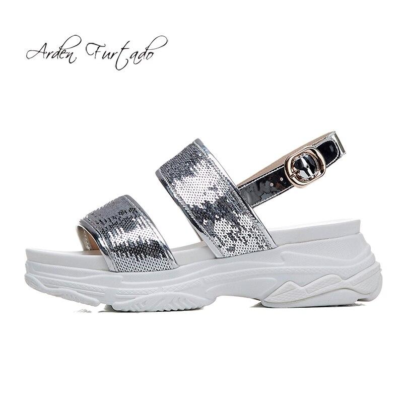 Arden De Bout Plat Sangle Coins Cm Occasionnels Argent Sandales Talons Arrière silver Black Furtado À D'été 5 Mode Haute Ouvert Boucle Chaussures forme 2018 Plate n80wNm