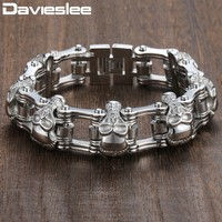 Gift 18mm HEAVY Boys Mens Chain Skull Black Gold Silver Tone Biker Motorcycle Link 316L Stainless