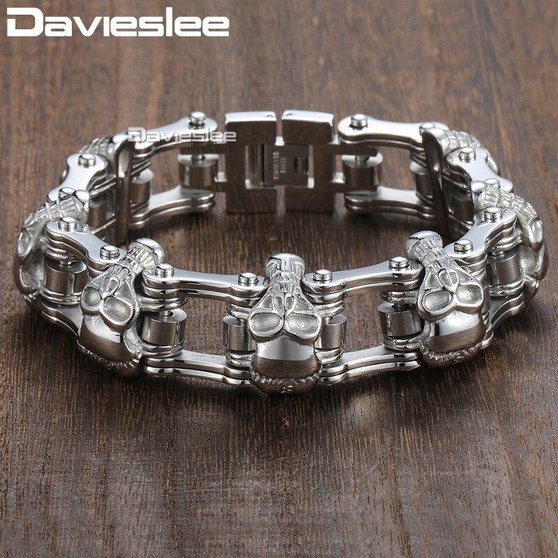 Davieslee Schädel Biker herren Armband für Männer Motorrad Link 316L Edelstahl Armband DLHBM62