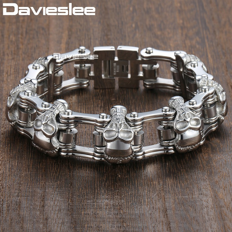 Davieslee Skull Biker Men's Bracelet for Men Motorcycle Link 316L Stainless Steel Bracelet DLHBM62 chic skull shape bracelet for men