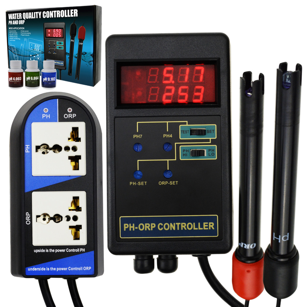 2 in 1 Digital pH & ORP Redox Controller Repleaceable Electrode BNC Type Separate Relays 14.00pH/1999mV w/ Calibration Solution