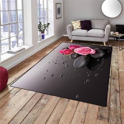 Else Black Spa Stones On Pink Roses Water Drops 3d Print Non Slip Microfiber Living Room Decorative Modern Washable Area Rug Mat