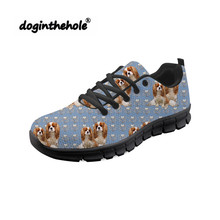 Doginthehole Cavalier King Prints Walking Shoes Women Sneakers Woman Sports Comfortable Lace up Mesh Breathable Zapatos de mujer недорого
